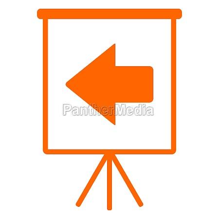 left arrow and flipchart