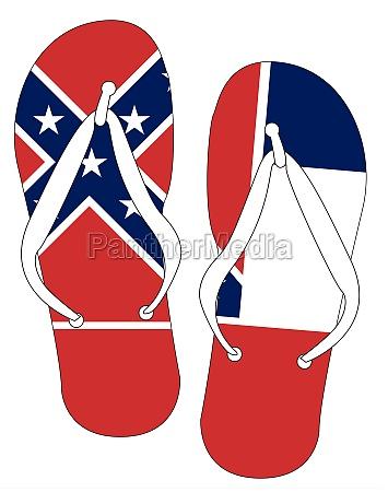 mississippi state flag flip flop shoes