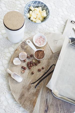 baking ingredients on cutting board
