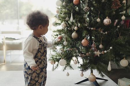 cute baby girl looking at christmas