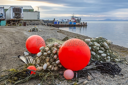 fishing nets and buoys on the