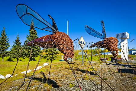mosquito sculptures at delta junction visitors