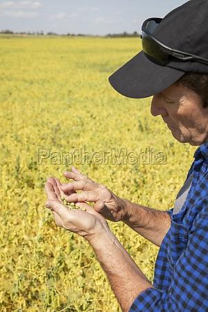 a farmer stands in a farm