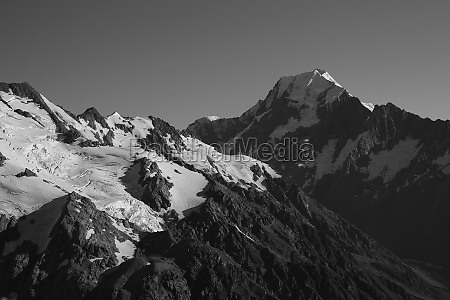 mount cook and glacier in black