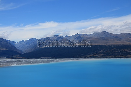 mountain range and river delta at