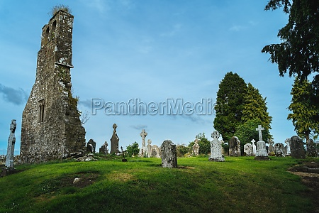 small ancient cemetery and ruined church