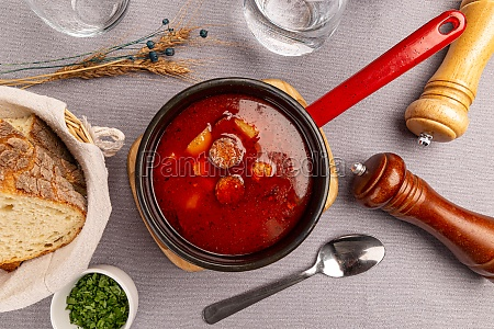 tasty hungarian goulash soup