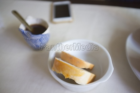 morning coffee with bread