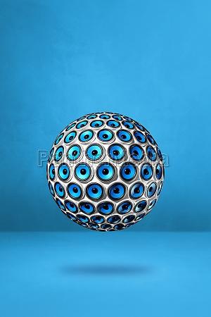 speakers sphere on a blue studio