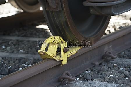 railroad brake shoe of a train