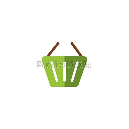 empty shopping basket flat color icon