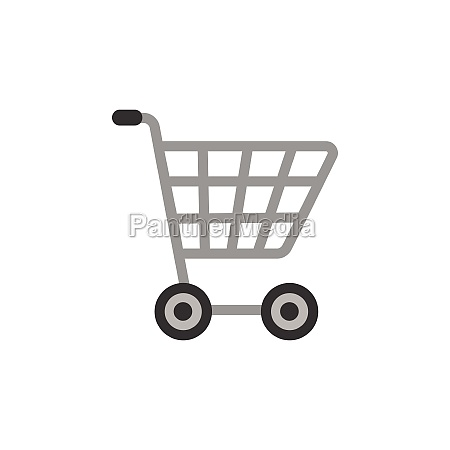 empty shopping cart flat color icon