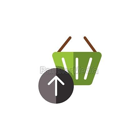shopping basket up arrow flat color