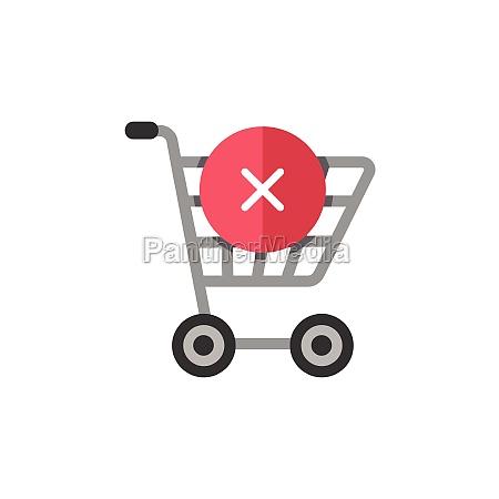 shopping cart cross mark flat color
