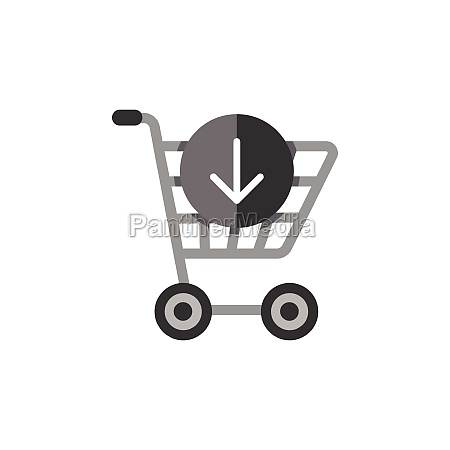 shopping cart down arrow flat color