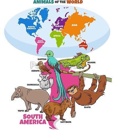 educational illustration of cartoon south american