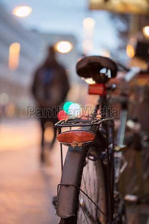 bike in the city dusk rear