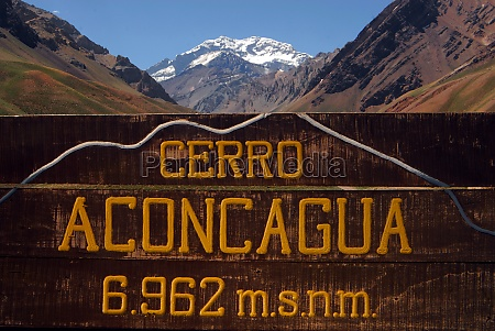 aconcagua mountain and natural landscape in