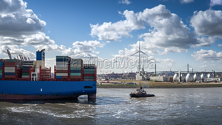 end of a container ship on