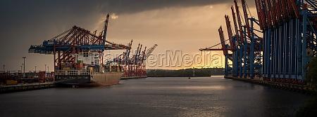 sunset in the harbor of hamburg