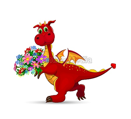 red dragon with a bouquet of