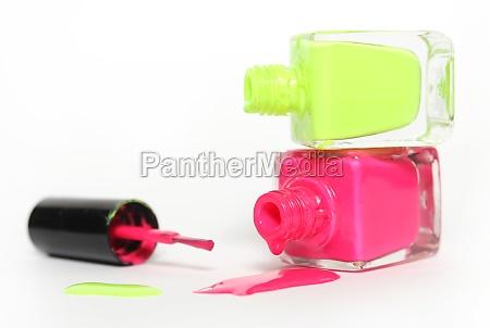 pink and yellow neon nail polish