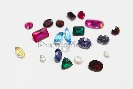 gems and gemstones on white background