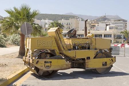 road roller in rethymno crete
