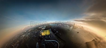 spherical panorama at sunrise from hamburg