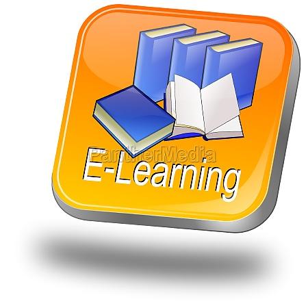 e learning button orange 3d