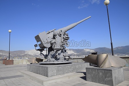 artillery battle cannon raised from the