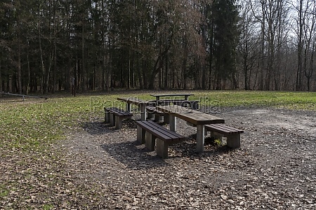 seating area in the forest