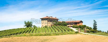 piedmont hills in italy with scenic