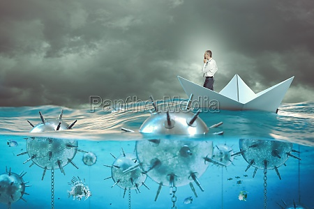 man on a paper boat in