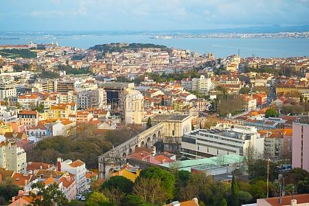 lisbon aerial view skyline cityscape