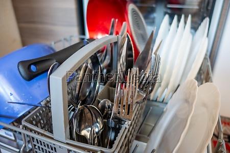 open dishwasher in a kitchen