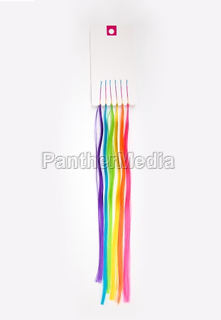 artificial colored strands of hair