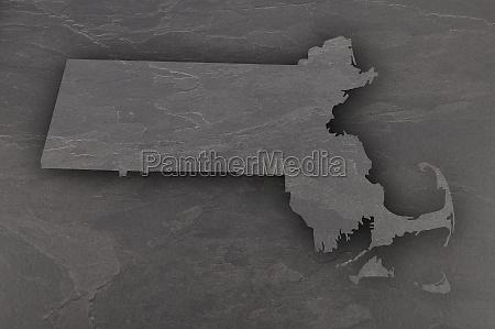 map of massachusetts on dark slate