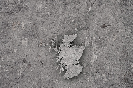 map of scotland on weathered concrete