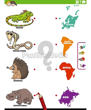 match animal species and continents educational