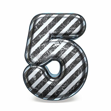 striped steel black scratched font number
