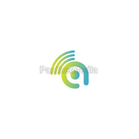 letter a wireless internet logo