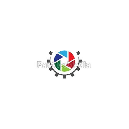 camera shutter logo gear
