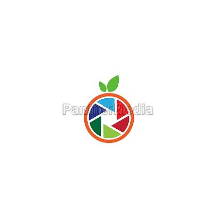 camera shutter logo orange