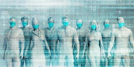 business people wearing medical masks