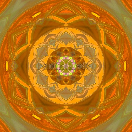 bright orange mandala of abstract yoga