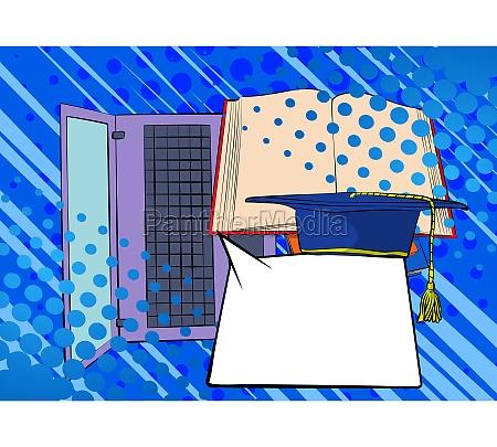 digital online education concept with laptop