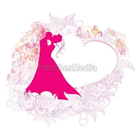 stylish wedding invitation card with kissing