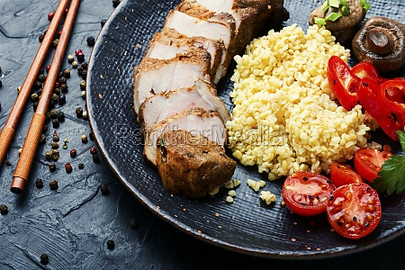 sliced meat and bulgur porridge