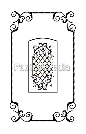 decorative forged element metal grill vector